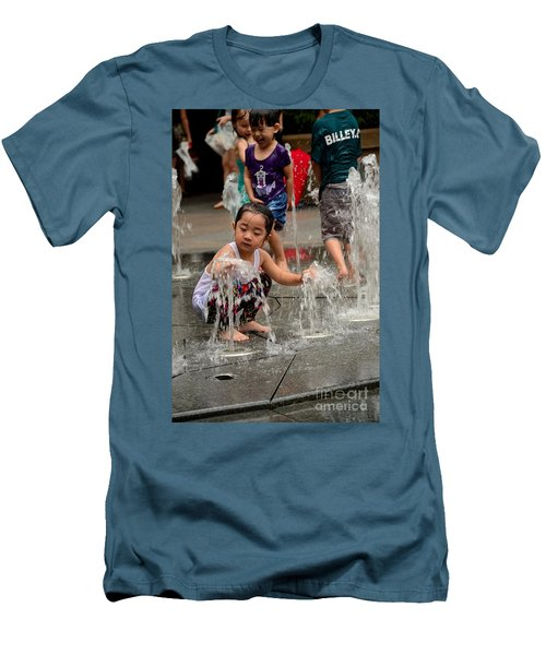 Clothed Children Play At Water Fountain Men's T-Shirt (Athletic Fit)