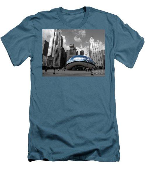 Cloud Gate B-w Chicago Men's T-Shirt (Slim Fit) by David Bearden