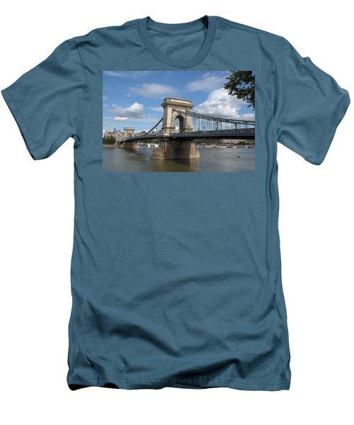 Clouds Sky Water And Bridge Men's T-Shirt (Slim Fit) by Caroline Stella