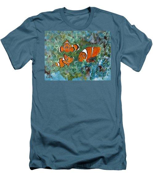 Clown Fish Art Original Tropical Painting Men's T-Shirt (Athletic Fit)