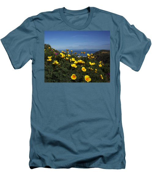 Men's T-Shirt (Slim Fit) featuring the photograph Coastal California Poppies by Susan Rovira