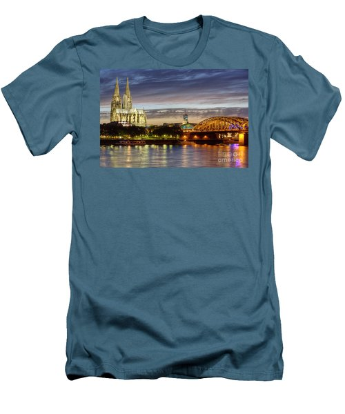 Cologne Cathedral With Rhine Riverside Men's T-Shirt (Slim Fit) by Heiko Koehrer-Wagner