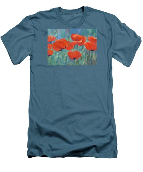 Colorful Flowers Red Poppies Beautiful Floral Art Men's T-Shirt (Slim Fit) by Elizabeth Sawyer