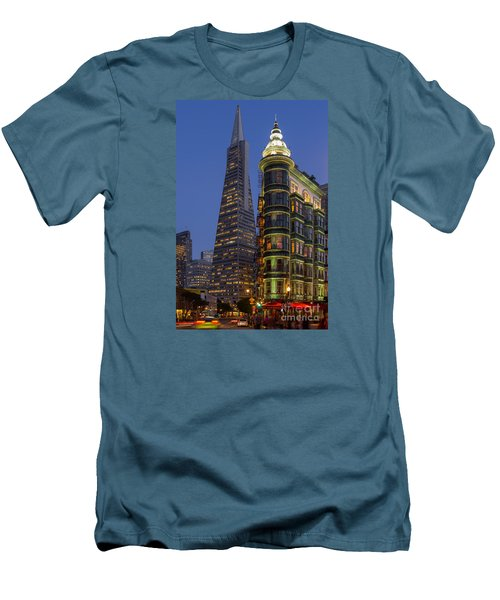 Columbus And Transamerica Buildings Men's T-Shirt (Slim Fit) by Jerry Fornarotto