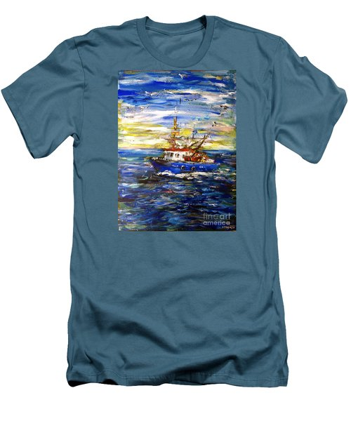 Men's T-Shirt (Slim Fit) featuring the painting Coming Back by Arturas Slapsys