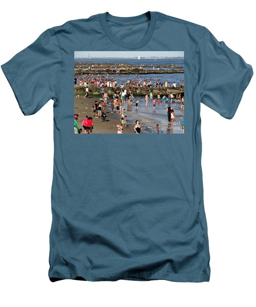 Men's T-Shirt (Slim Fit) featuring the photograph Coney Island Rocks by Ed Weidman