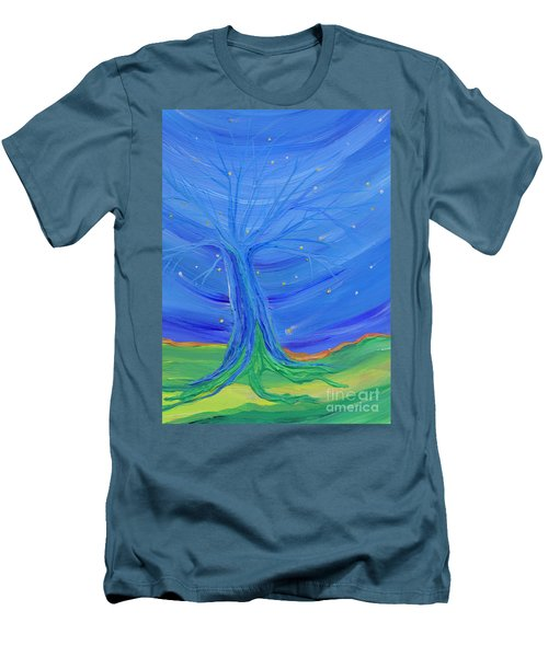 Men's T-Shirt (Slim Fit) featuring the painting Cosmic Tree by First Star Art