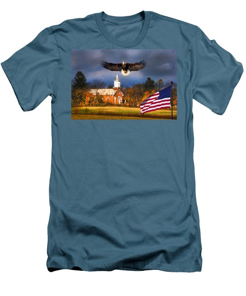 country Eagle Church Flag Patriotic Men's T-Shirt (Athletic Fit)