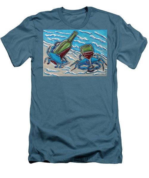 Crab Wine Time Men's T-Shirt (Athletic Fit)