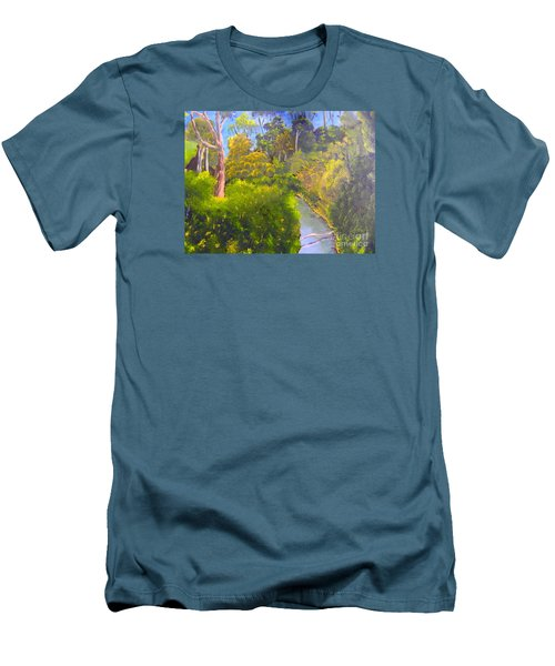 Creek In The Bush Men's T-Shirt (Slim Fit) by Pamela  Meredith