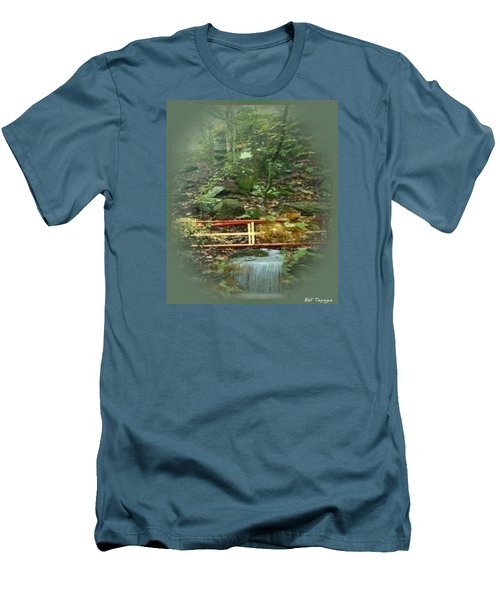 Men's T-Shirt (Slim Fit) featuring the mixed media A Bridge To Cross by Ray Tapajna