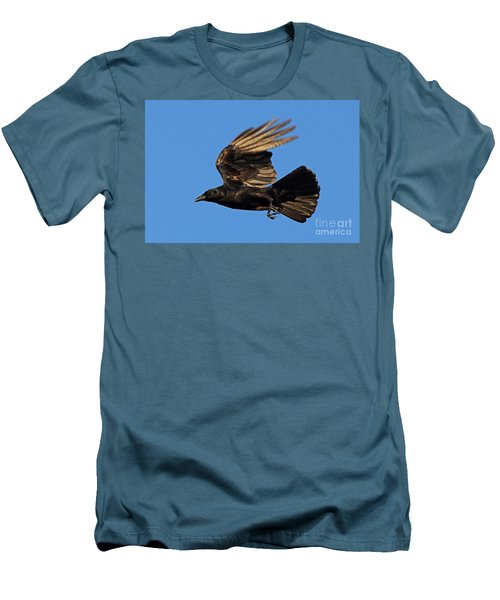 Men's T-Shirt (Slim Fit) featuring the photograph Crow In Flight by Meg Rousher