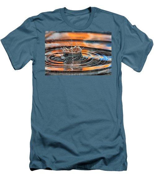 Men's T-Shirt (Slim Fit) featuring the photograph Crown Shaped Water Drop Macro by Teresa Zieba