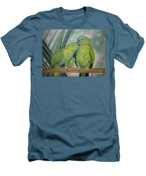 Men's T-Shirt (Slim Fit) featuring the painting Cuddles by Laurianna Taylor