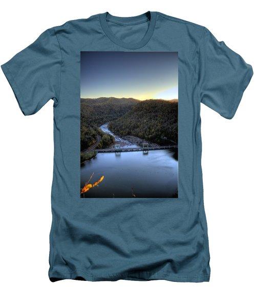 Men's T-Shirt (Slim Fit) featuring the photograph Dam Across The River by Jonny D