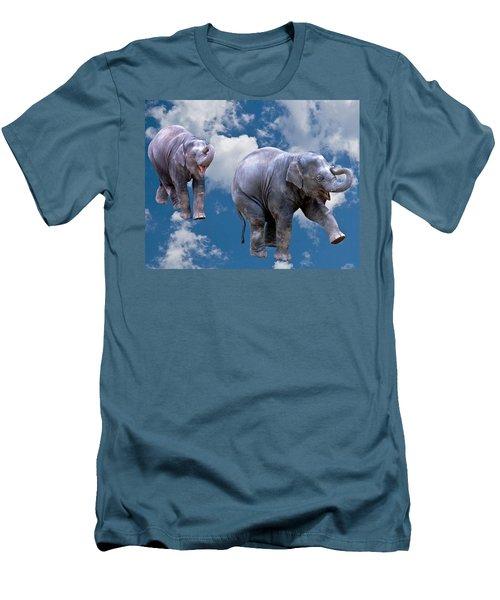 Dancing Elephants Men's T-Shirt (Slim Fit) by Jean Noren