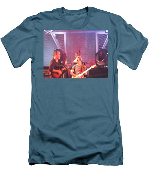 Men's T-Shirt (Slim Fit) featuring the photograph Dave And Tim Jam On The Guitar by Aaron Martens