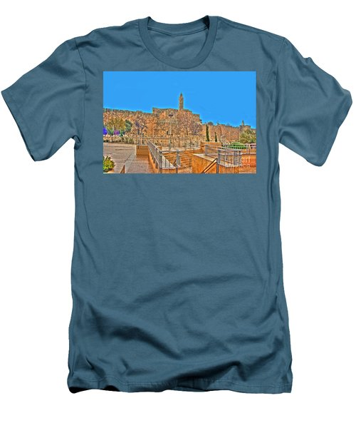 Men's T-Shirt (Slim Fit) featuring the photograph Davids Citadel - Israel by Doc Braham
