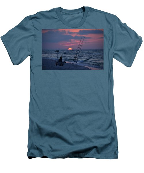 Daybreak On Navarre Beach With Deng The Fisherman Men's T-Shirt (Slim Fit) by Jeff at JSJ Photography