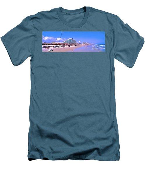 Men's T-Shirt (Slim Fit) featuring the photograph Daytona Main Street Pier And Beach  by Tom Jelen