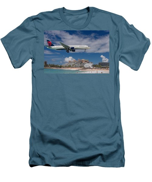 Delta Air Lines Landing At St. Maarten Men's T-Shirt (Slim Fit) by David Gleeson