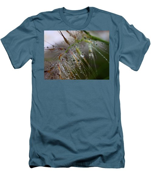 Men's T-Shirt (Slim Fit) featuring the photograph Dew On Fountain Grass by Joe Schofield