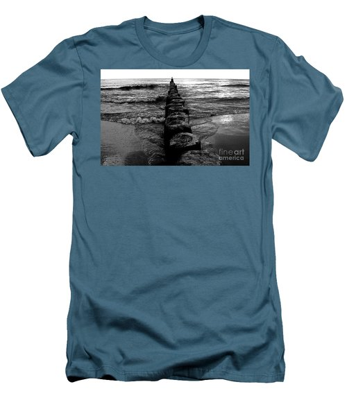 Distant Seagull Baltic Beach Men's T-Shirt (Slim Fit) by Andy Prendy