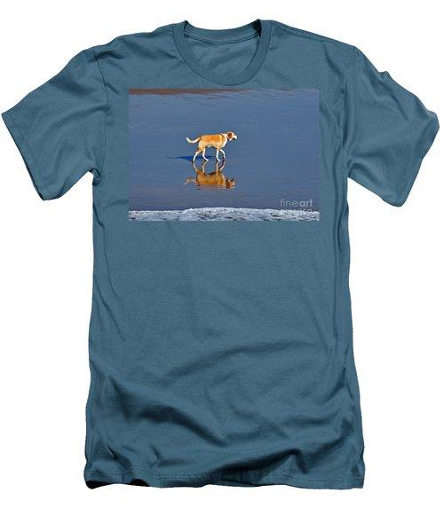 Dog On Water Mirror Men's T-Shirt (Slim Fit) by Susan Wiedmann