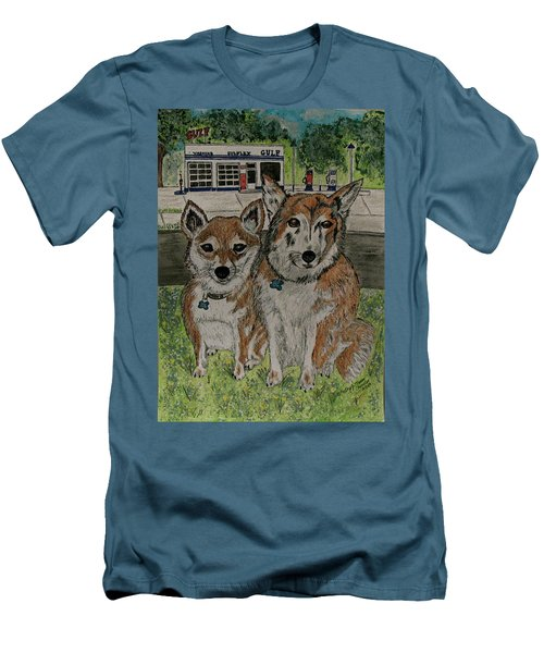 Men's T-Shirt (Slim Fit) featuring the painting Dogs In Front Of The Gulf Station by Kathy Marrs Chandler