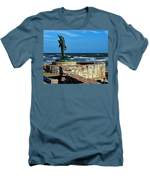 Dolphin Statue Men's T-Shirt (Slim Fit) by Judy Vincent
