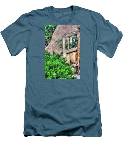 Door, Santuario De Chimayo Men's T-Shirt (Slim Fit) by Lanita Williams