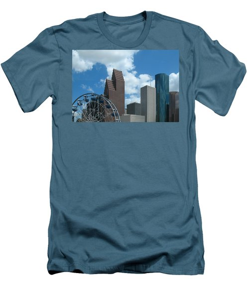 Downtown Houston With Ferris Wheel Men's T-Shirt (Slim Fit) by Connie Fox