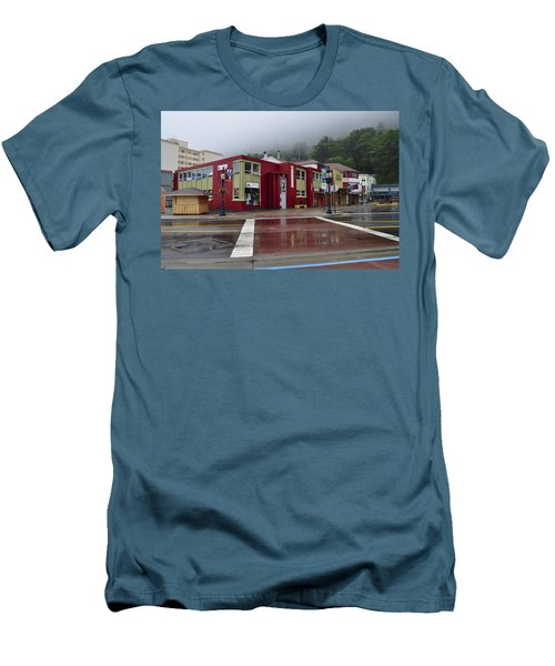 Men's T-Shirt (Slim Fit) featuring the photograph Downtown Juneau On A Rainy Day by Cathy Mahnke