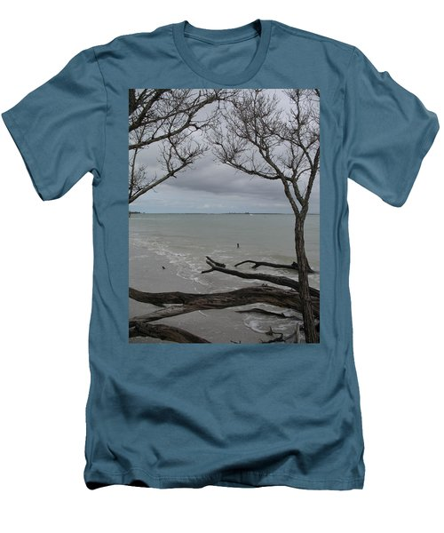 Men's T-Shirt (Slim Fit) featuring the photograph Driftwood On The Beach by Christiane Schulze Art And Photography