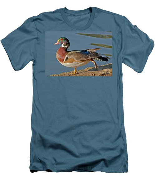 Men's T-Shirt (Slim Fit) featuring the photograph Duck Yoga by Kate Brown