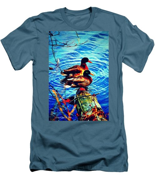 Men's T-Shirt (Slim Fit) featuring the photograph Ducks On A Log by Tara Potts