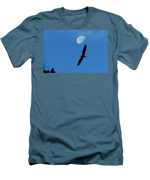 Men's T-Shirt (Slim Fit) featuring the photograph Egret Flight by Charlotte Schafer