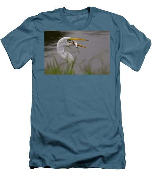 Men's T-Shirt (Slim Fit) featuring the photograph Egret Having Lunch by Jerry Gammon