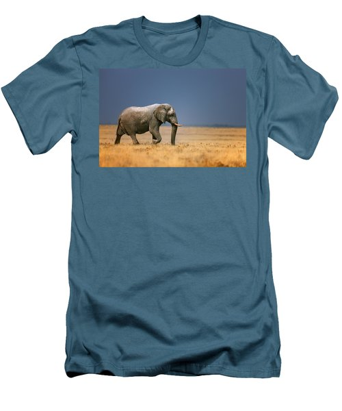 Elephant In Grassfield Men's T-Shirt (Athletic Fit)