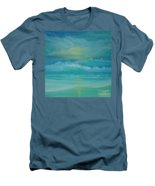 Emerald Waves Men's T-Shirt (Slim Fit) by Holly Martinson
