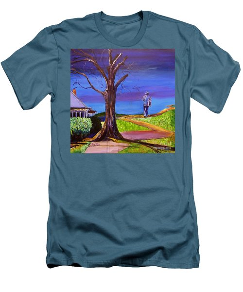 Men's T-Shirt (Slim Fit) featuring the painting End Of Day Highway 98 by Ecinja Art Works