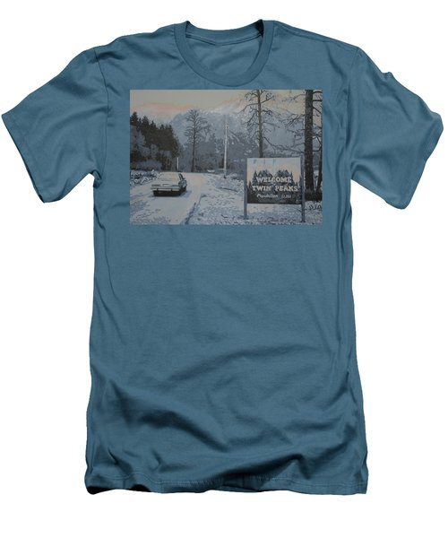 Men's T-Shirt (Slim Fit) featuring the painting Entering The Town Of Twin Peaks 5 Miles South Of The Canadian Border by Luis Ludzska