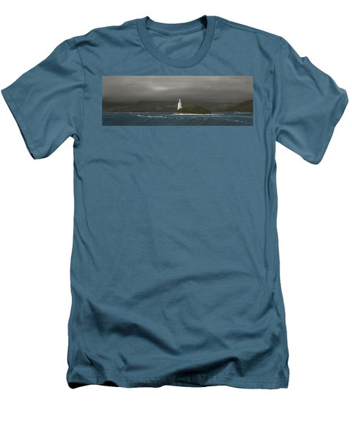 Men's T-Shirt (Slim Fit) featuring the painting Entrance To Macquarie Harbour - Tasmania by Tim Mullaney