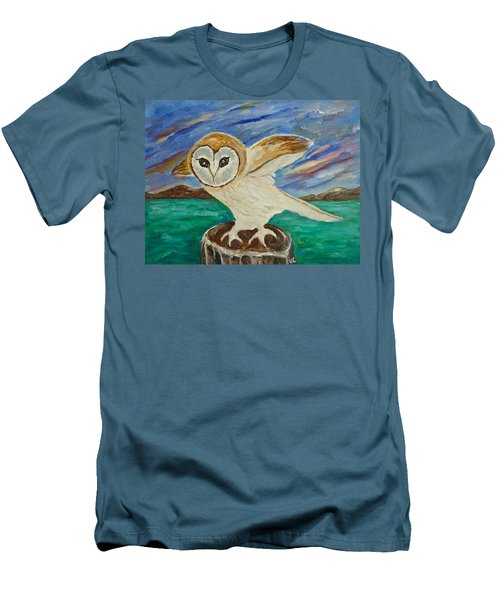 Equinox Owl Men's T-Shirt (Slim Fit) by Victoria Lakes