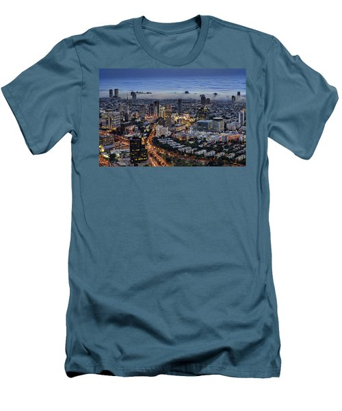 Men's T-Shirt (Slim Fit) featuring the photograph Evening City Lights by Ron Shoshani