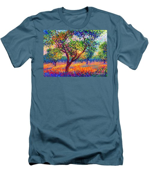 Men's T-Shirt (Slim Fit) featuring the painting Evening Poppies by Jane Small