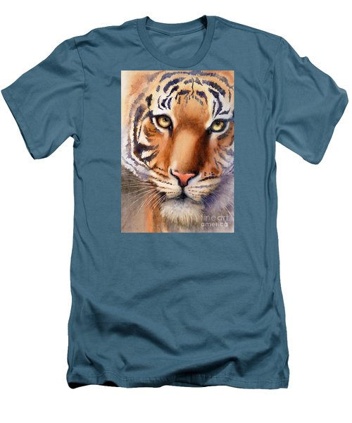 Men's T-Shirt (Slim Fit) featuring the painting Eyes Of The Tiger by Bonnie Rinier
