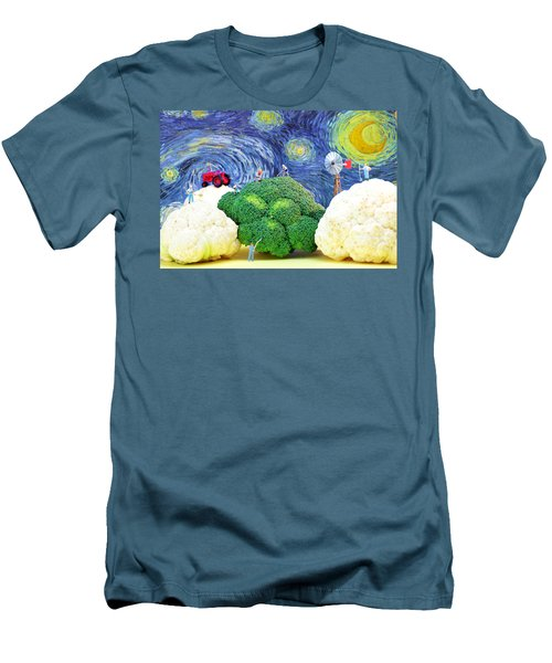Farming On Broccoli And Cauliflower Under Starry Night Men's T-Shirt (Slim Fit) by Paul Ge