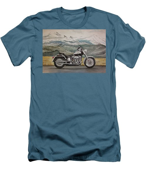 Men's T-Shirt (Slim Fit) featuring the painting Fatboy by Rachel Hames