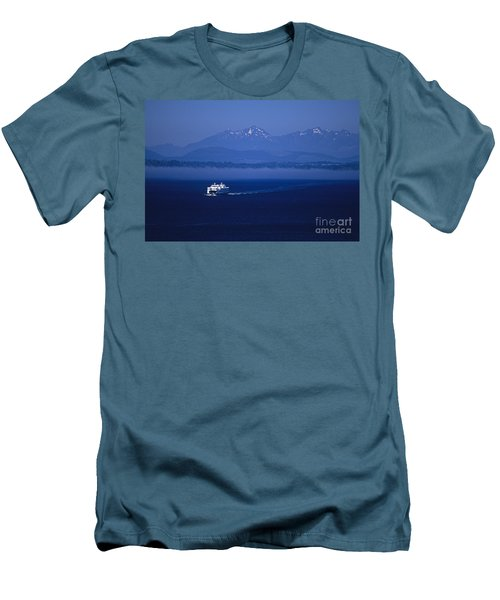 Ferry Boat In Puget Sound With Olympic Mountains Men's T-Shirt (Athletic Fit)